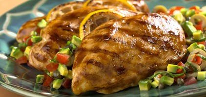 Pechuga de pato marinada en frambuesa