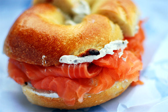 salmon and cream cheese bagel