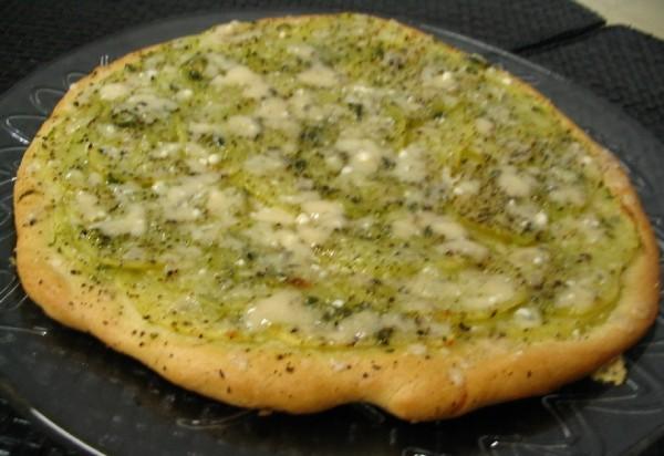 Pizza de solomillo de cerdo y salsa verde