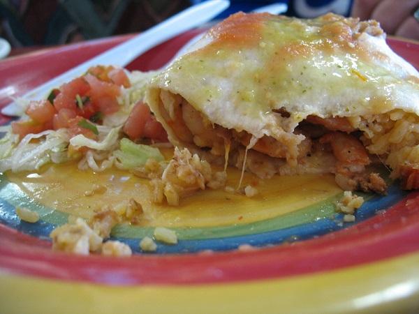 Burrito de gambas gratinado